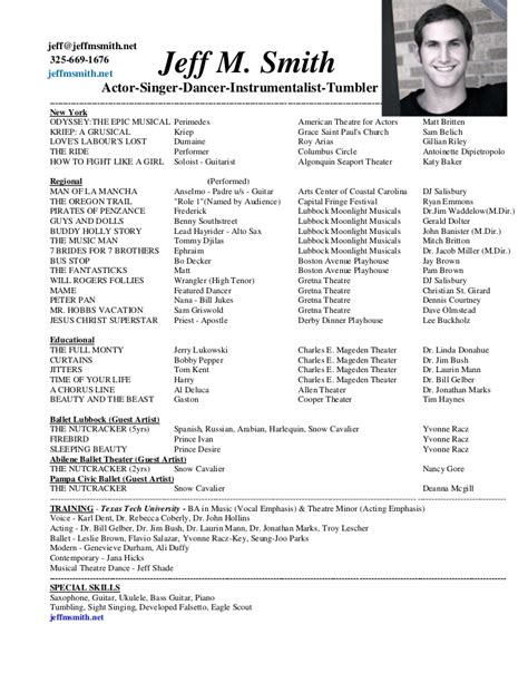 musical theater resume template musical theatre resume template