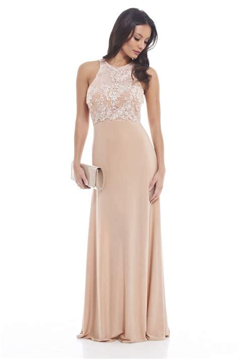 Dress Korea Paria ax s crochet mesh top slinky maxi beige dress