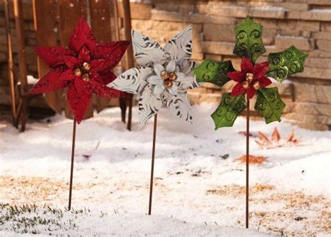 christmas poinsettia spinner garden stakes set of 3 by