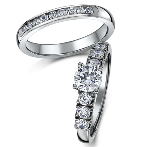 titanium bridal set cz engagement eternity ring bridal