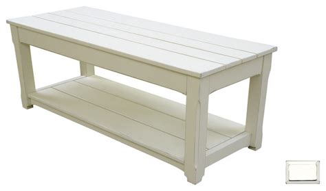 cottage plank coffee table bench white farmhouse