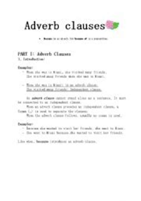Adverb Clause Worksheet by Teaching Worksheets Clauses