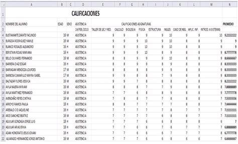 manejo de calificaciones inotas actividad 04 introducci 211 n a la hoja de calculo edici 211 n de