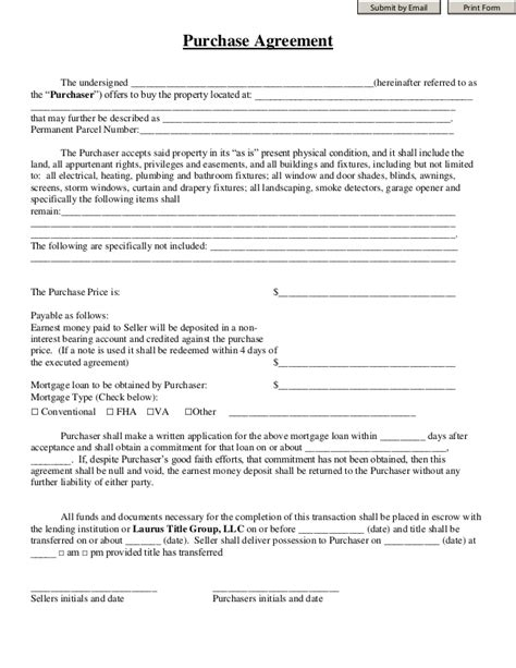 Purchase Agreement Laurus Title Group Mortgage Sales Contract Template