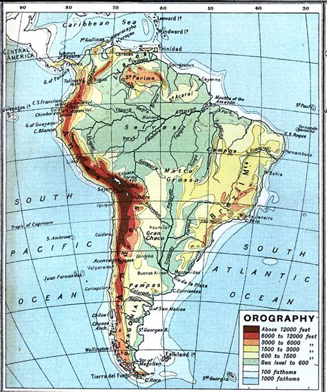 america map elevation south america orographical