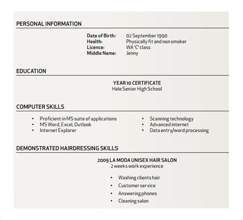 Hairstyle Resume by Sle Hair Stylist Resume 7 Free Documents In Pdf Word