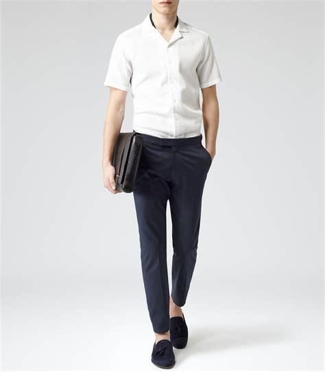 White Texture Collar Dress Size Sml reiss alder textured cuban collar shirt in white for