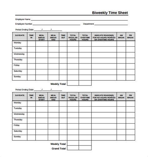 biweekly paid lunch printable time sheet 18 bi weekly timesheet templates free sle exle