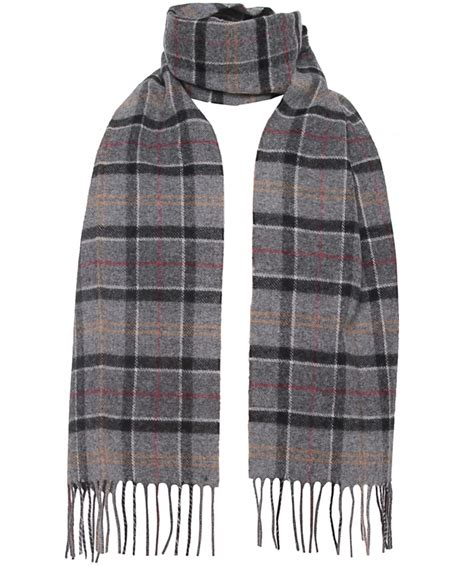 barbour classic tartan lambswool scarf in gray for lyst