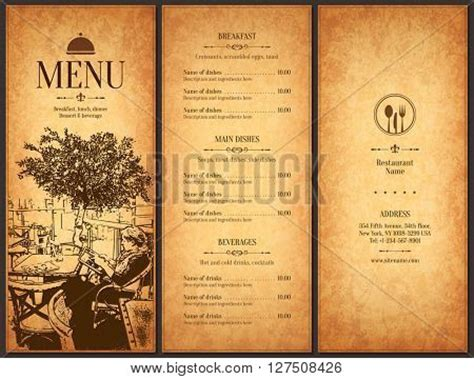 menu for large restaurant menu design vector vector photo bigstock