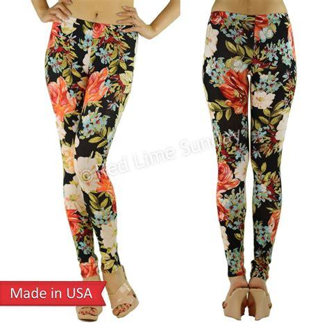 flower pattern leggings black multi color floral flower pattern cotton print