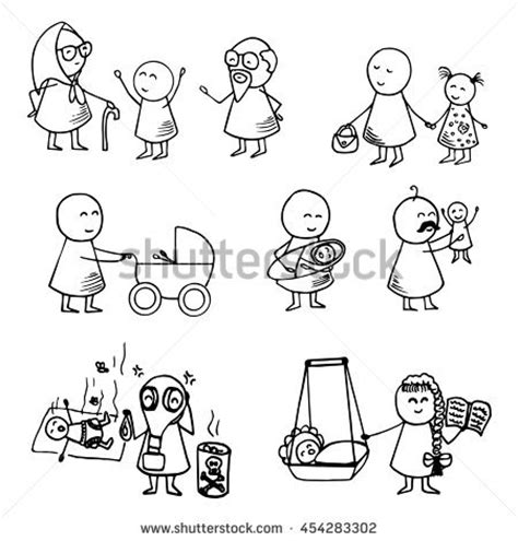 doodle family doodle office workers icons on stock vector