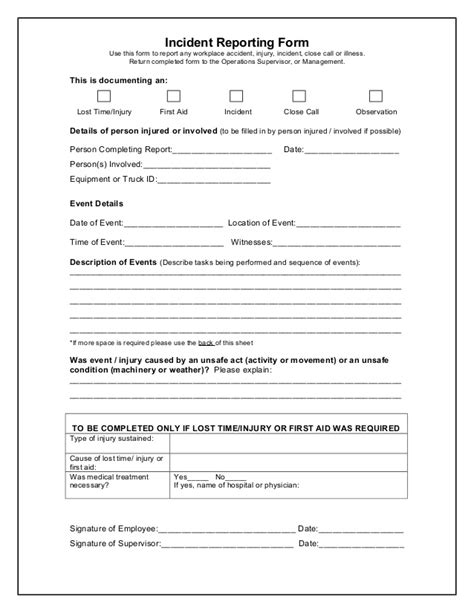 workplace incident report form template images