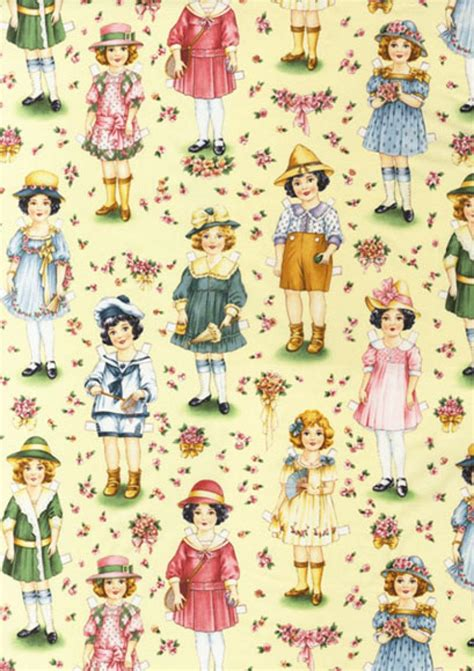 How To Make Fabric Paper Dolls - t222 vintage paper dolls doll quilt fabric cotton fabric