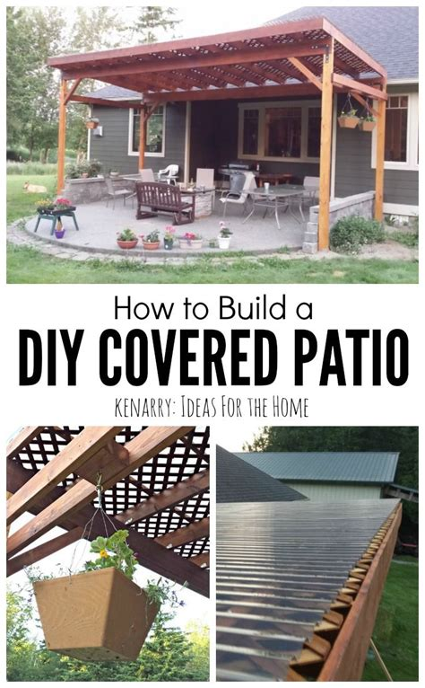 How to Build a DIY Covered Patio   Backyard, Patios and Woods
