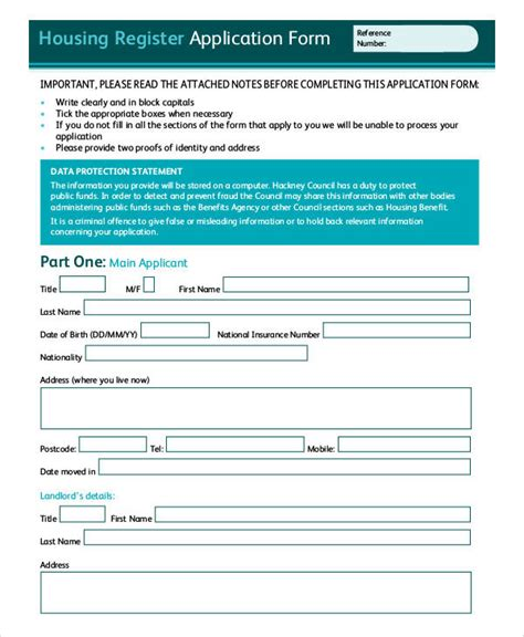 Housing Application Template by Housing Application Template 28 Images Housing Benefit