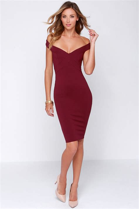 Dress Pesta Midi Dress chic burgundy dress midi dress bodycon dress 44 00