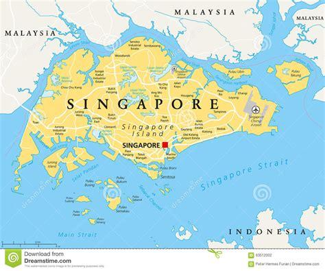 singapore on a map singapore political map stock vector illustration of