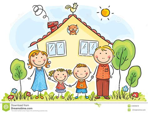 clipart famiglia family with two children stock vector image 44609878