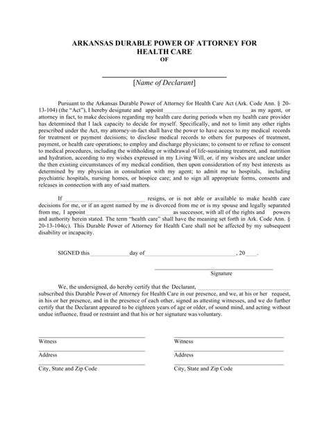 durable power of attorney form free arkansas durable power of attorney for health care