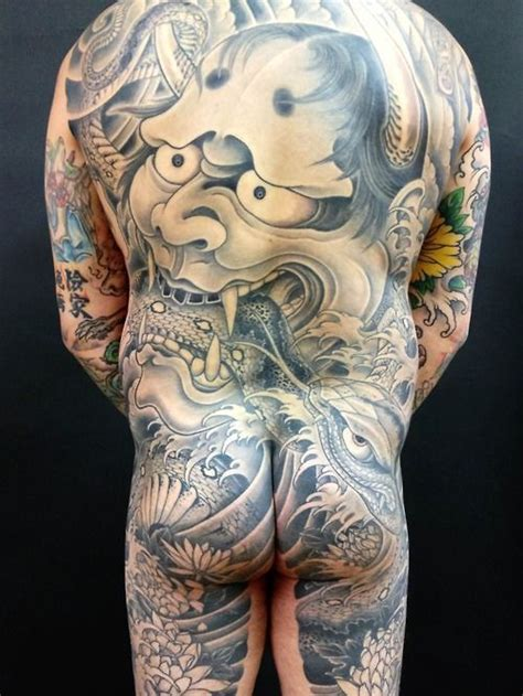 hannya mask tattoo back piece japanese hannya mask back piece by horitomo kazuaki