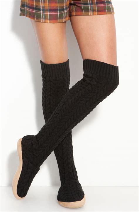 slippers for knee lyst make model cable knit the knee slipper socks