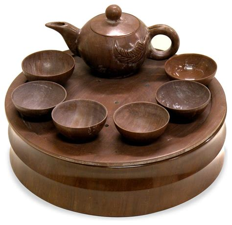 Primitive Kitchen Furniture hand carved brown jade tea set asian artwork by