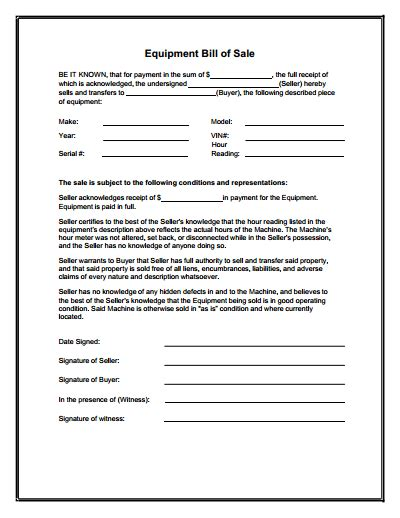 Equipment Bill Of Sale Form Download Create Edit Fill And Print Wondershare Pdfelement Equipment Transfer Agreement Template