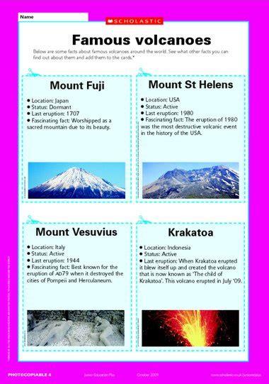 famous volcanoes fact sheet primary ks2 teaching