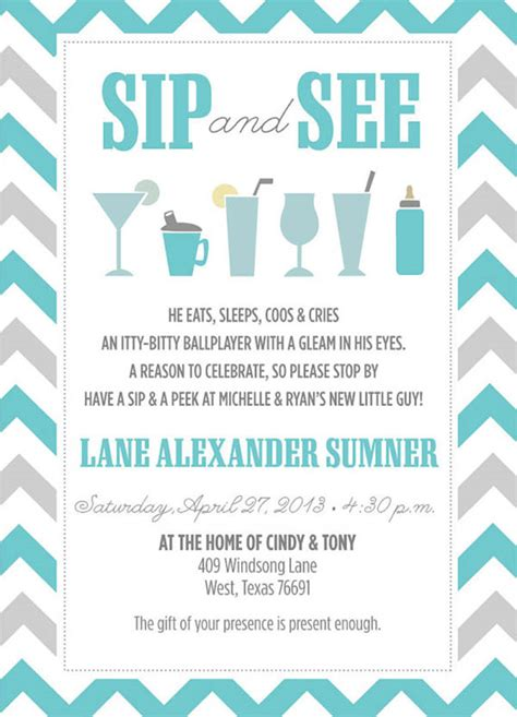 Lovely Sip And See Invitations B Lovely Events Sip And See Invitation Templates