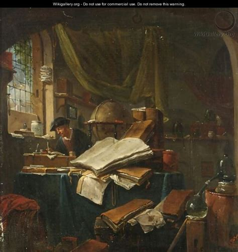 painting in the books an alchemist in his study a still of books pots and