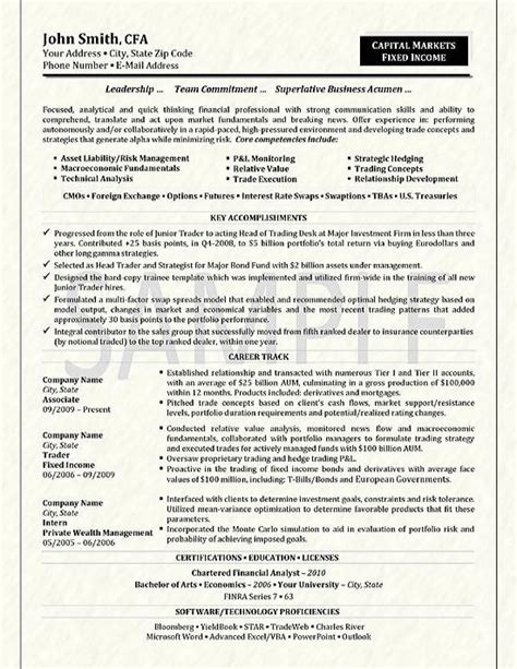 Resume Format Experienced Pdf by Trader Resume Example