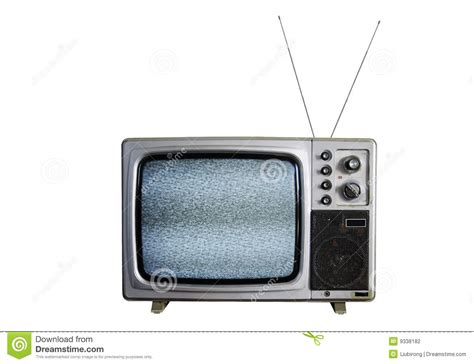 tv pictures an old tv with the noise on white background stock