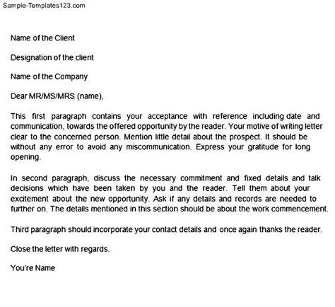 Acceptance Letter For Quotation Acceptance Letter Format Sle Templates