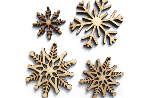 rustic wood snowflake ornaments laser cut set