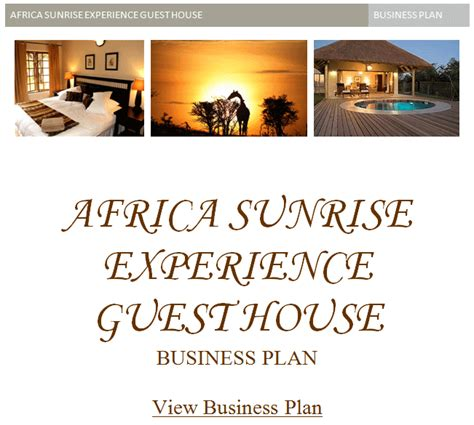 Guest House Sle Business Plan South Africa Business Plans For Guest Houses