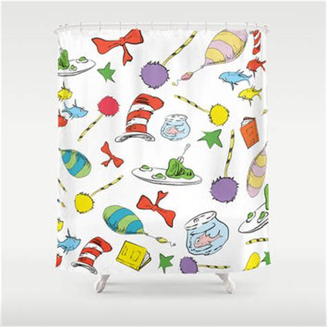 cat in the hat shower curtain dr seuss pattern cat in the hat lorax from society6