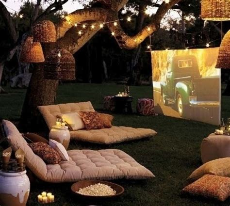 Outdoor Patio Set With Fire Pit 1 Set Up A Lounge Movie Theater In The Back Yard Using