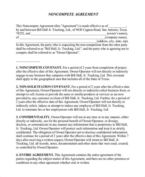 non compete agreement template pdf non disclosure non compete agreement 10 free word pdf