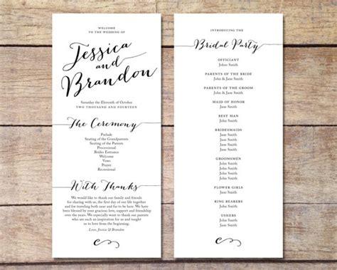 Simple Wedding Program Customizable Elegant Design Simple Classic Wedding Black And Simple Wedding Program Template