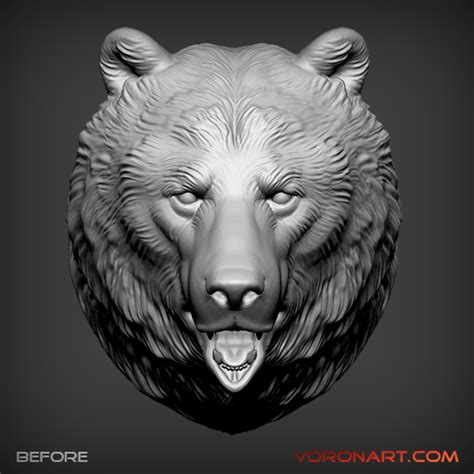 zbrush wolf tutorial bear head 3d model zbrush sculpt asymmetry zbrush layer