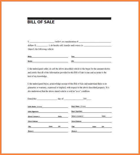 Bill Of Sale Template Doc 9 bill of sale template word document simple bill