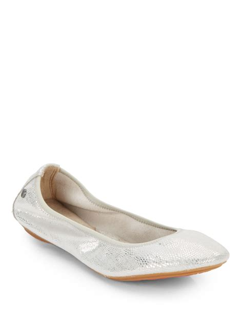 Hush Puppies Silver Blue Leather lyst hush puppies chaste metallic leather ballet flats