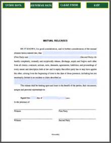Mutual Agreement Contract Template Mutual Releases Agreement Template Free Fillable Pdf