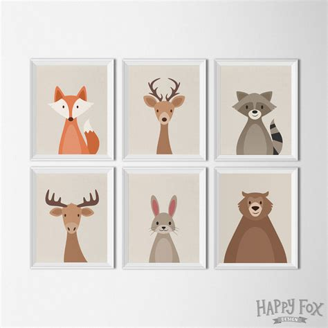 Woodland Creatures Nursery Decor Woodland Animal Set Printables Nursery Decor By Happyfoxdesign Kiddie Stuff