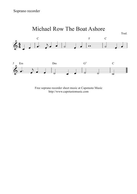 michael row the boat ashore friday the 13th free sheet music scores