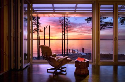 sunset screening room loblolly house prefabricated architecture integrated with nature