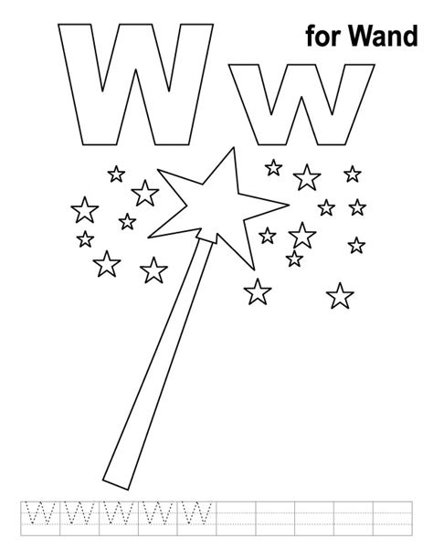 Free W Coloring Pages by W For Wand Coloring Page With Handwriting Practice