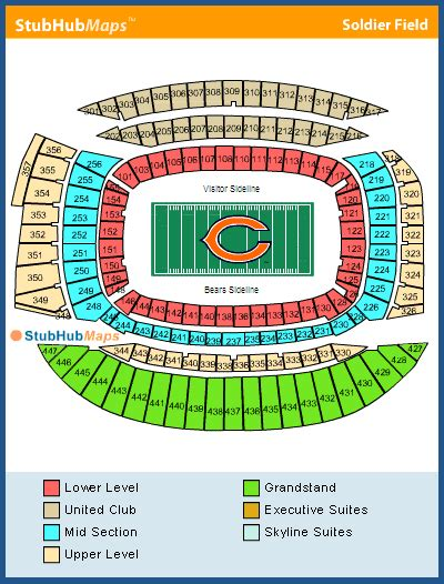 chicago bears stadium seating capacity soldier field seating chart