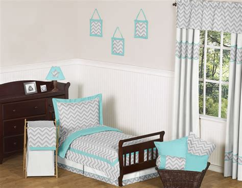Grey And Turquoise Bedding by Zig Zag Turquoise And Gray Chevron Toddler Bedding Collection